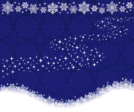 Winter background with snowflakes and Milky Way. Stock Images