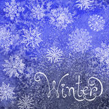 Winter background with snowflakes. Painting. Royalty Free Stock Image