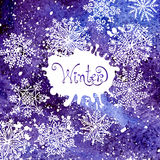 Winter background with snowflakes. Painting. Stock Images