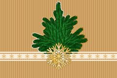 Golden winter background. Winter background with snowflakes pattern, ribbons, bow and fir-tree. Vector illustration EPS10 for Christmas or New Year card Royalty Free Stock Image