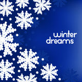 Winter background with snowflakes and place for your text. Stock Photos