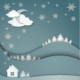 Winter background of snowflakes trees house stickers Stock Photo
