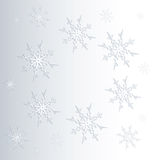 Winter background of snowflakes in white and blue colors Royalty Free Stock Photo