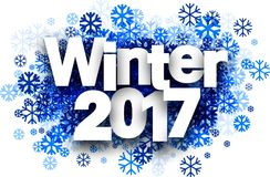 Winter 2017 background with snowflakes. Winter 2017 white background with blue snowflakes. Vector illustration stock illustration