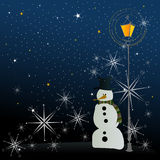 Winter background with snowman Royalty Free Stock Image