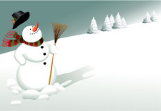 Winter background with snowman Stock Photo
