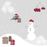 Winter background with a snowman. Christmas background with snowman. Happy holidays. Season winter Stock Photos
