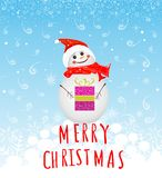 Winter background with snowman and gifts Stock Photography