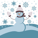 Winter background with a snowman Stock Image