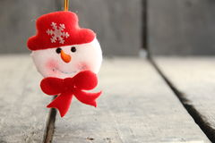 Winter background, Snowman toy. Stock Photo