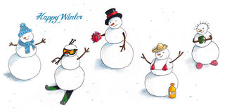 Winter background with snowmen. Winter background with hand Drawn funny snowmen Royalty Free Stock Image