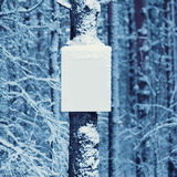 Winter background snowy board on the tree Royalty Free Stock Photography