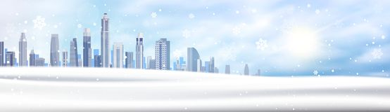 Winter Background Snowy City Landscape Horizontal Banner Snow White Buildings Blue Sky Christmas Concept. Flat Vector Illustration Stock Photos