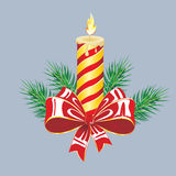 Winter background with spruce twigs and red baubles. Christmas vector illustration. Royalty Free Stock Photography