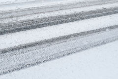Winter Background - Tire Tracks Royalty Free Stock Images
