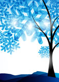 Winter background, a tree in the snow Stock Photos