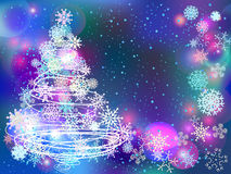 Winter background with tree and snowflakes Royalty Free Stock Photography