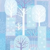 Winter background with trees and snowflakes Royalty Free Stock Photo
