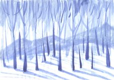 Winter background. Trees in a snowy forest royalty free illustration