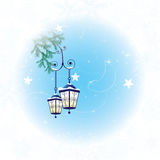 Winter background with two lanterns Royalty Free Stock Photo