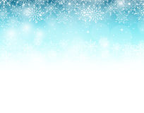 Winter Background with Various Cold Blue Snowflakes Stock Image