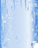 Winter background of vintage cracked paper with icicles Royalty Free Stock Images