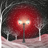 Winter background with vintage lantern in a snow covered park. vector illustration