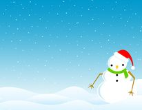Winter Background /wallpaper. Cute snowman on snow background winter wallpaper / illustration Stock Images
