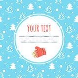 Winter background. White fir trees on blue background and space for your text. Stock Photos