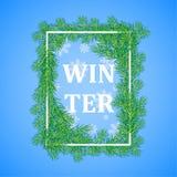 Winter background .White rectangular frame, framed by fir branches, falling snow, the inscription winter.Vector illustration stock illustration
