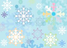 Winter Background With Stylized Snowflakes Made ​​in Differe