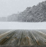 Winter background with wood planks Royalty Free Stock Photos