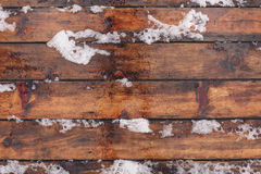 Winter background with wooden floor covered by snow. And footprint on it, Top view, vintage toned image, copy space royalty free stock photo