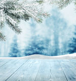Winter background. With wooden planks Stock Photo