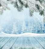 Winter background. With wooden planks Stock Photography