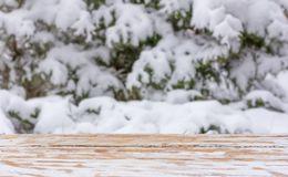 Winter background with a wooden table and a mounting area for the placement of objects. mock up for text, congratulations, phrases. Natural blurred winter Stock Photography