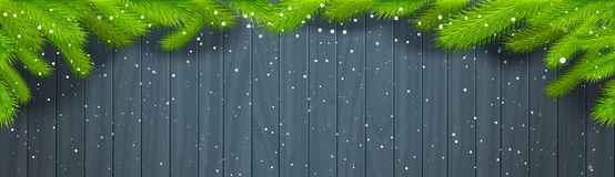 Winter Background Wooden Texture With Green Christmas Tree Branches And Snowflakes Horizontal Banner. Illustration Royalty Free Stock Image