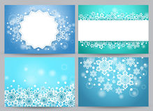 Winter backgrounds and banners vector set with snow flakes. And empty white space for text and greetings in blue. Vector illustration Royalty Free Stock Image