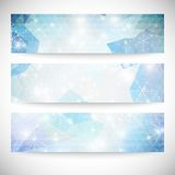 Winter backgrounds set with snowflakes. Abstract Royalty Free Stock Photos
