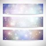 Winter backgrounds set with snowflakes. Abstract Royalty Free Stock Photography
