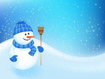 Winter backgroung with a snowman. Winter backgroung with a cheerful snowman Stock Photo