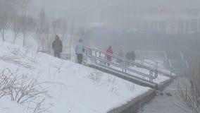 Winter, bad weather. People go. Yekaterinburg. Ru Royalty Free Stock Photo
