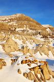 Winter badlands field stock photography