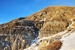 Winter badlands field Royalty Free Stock Photo