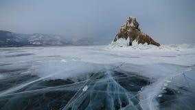 Winter Baikal. Elenka Island at sunset. Winter Baikal. Elenka Island at sunset stock video