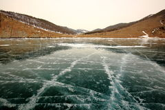 Winter Baikal. The ice desert from the shores of lake Royalty Free Stock Photography