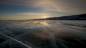 Winter Baikal. Strong wind on the ice, drifting snow. Winter Baikal. Strong wind on the ice, drifting snow timelapse stock video footage