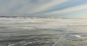 Winter Baikal. Strong wind on the ice, drifting snow. Winter Baikal. Strong wind on the ice, drifting snow stock video