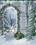 Winter balcony. Winter scenery with a balcony and Christmas decorations Royalty Free Stock Photography