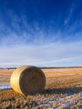 Winter Bale. A bale on a partially snow covered field in early winter royalty free stock photo
